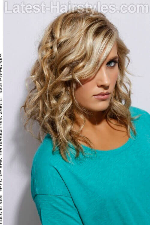 Long Bob with Curls and Highlights Side