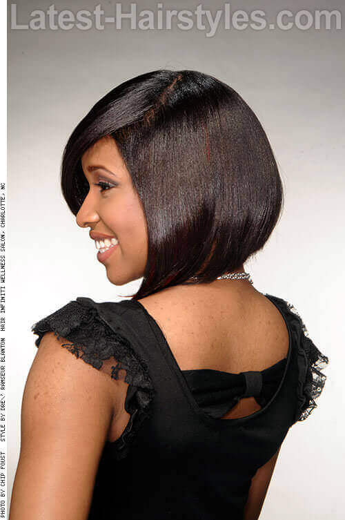 Long Bob with Red Accents Back