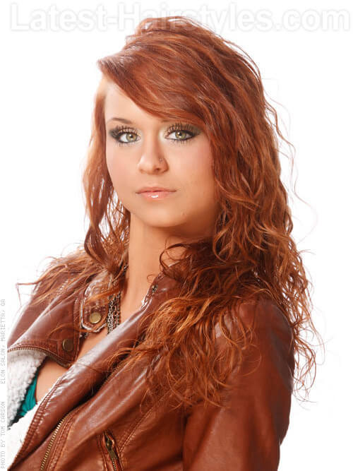 Long Red Hair with Side Fringe SIde