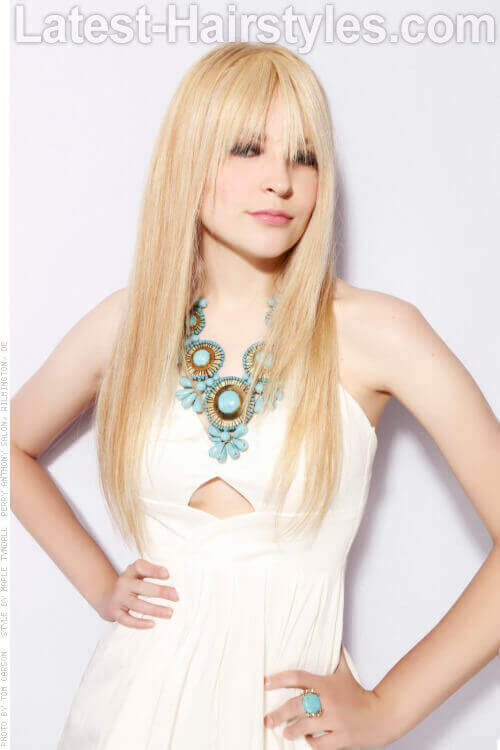 Long Straight Fancy Hairstyle with Fringe
