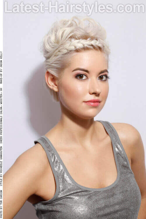 Platinum Updo with Braid