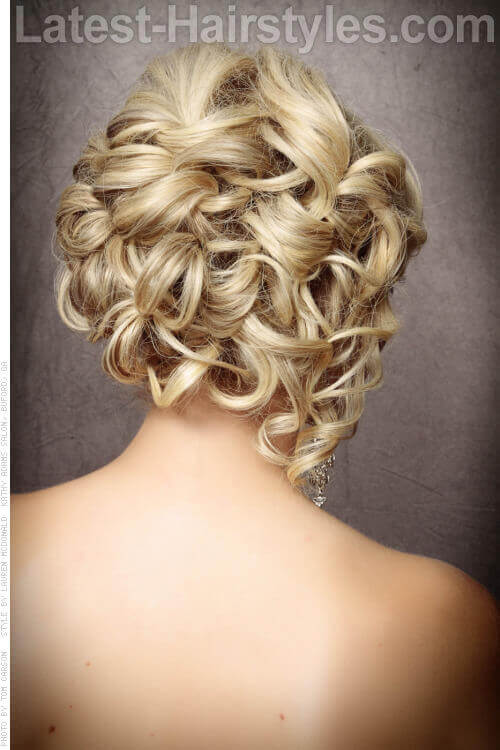 Romantic Updo with Curls Back