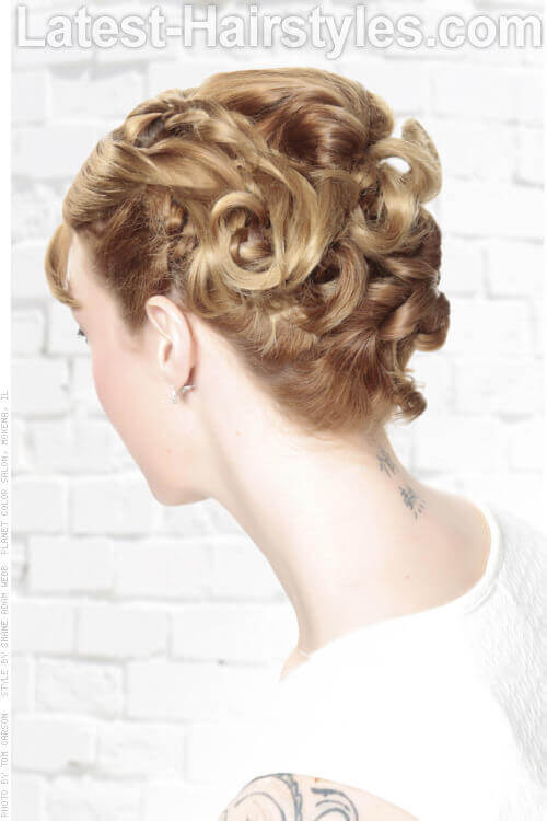 Simple Updo with Twists and Curls Back