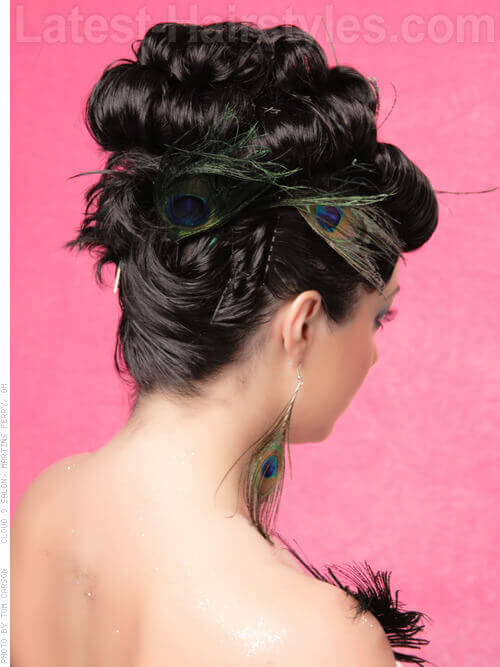 Updo with Barrel Curls Back