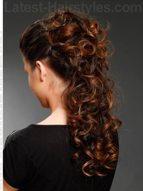 Voluminous Half Updo with Curls Back