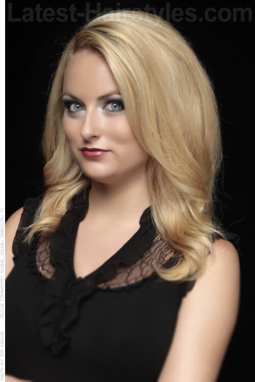 Blonde Haircut with Volume and Waves Side