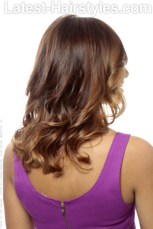 Hairstyle with Curls and Toffee Highlights Back