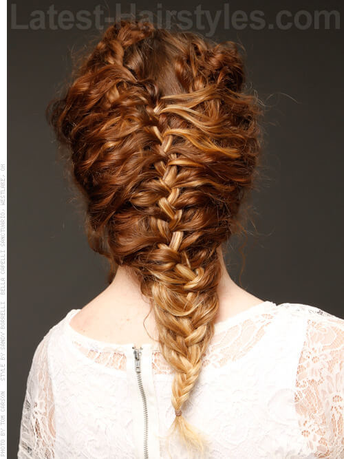 Inverted French Braid Hairstyle Back