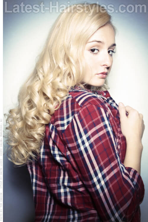 Long Blonde Hair with Ringlet Curls Side