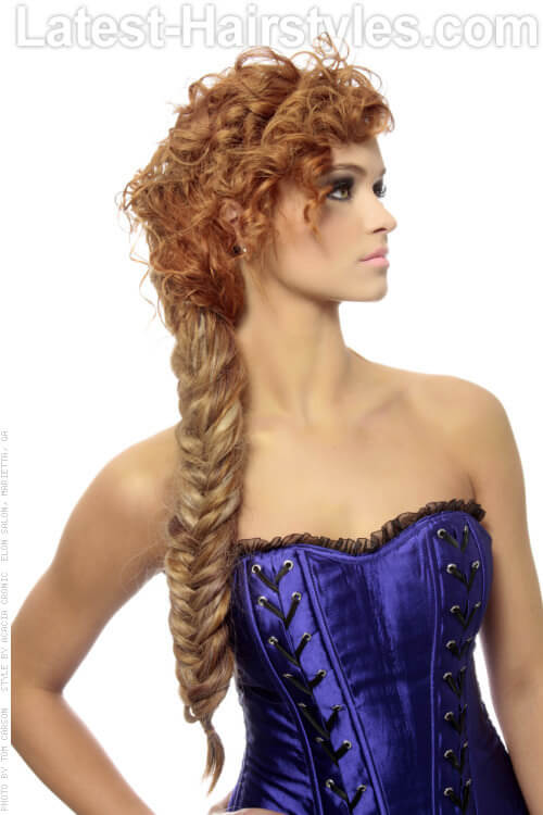 Long Fishtail Braid with Curls