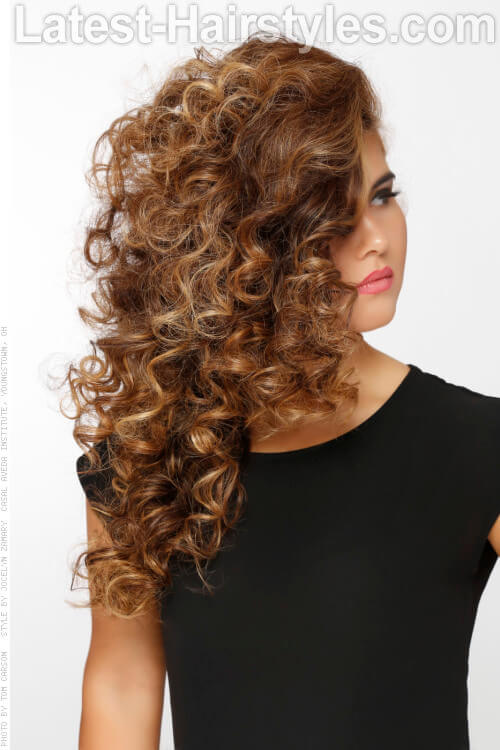 Long Naturally Curly Hairstyle with Deep Part Side