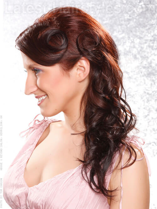 Pin Curled Loose Updo Side