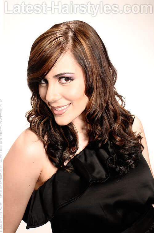 Rich Brunette Haircolor with Bold Highlights Side