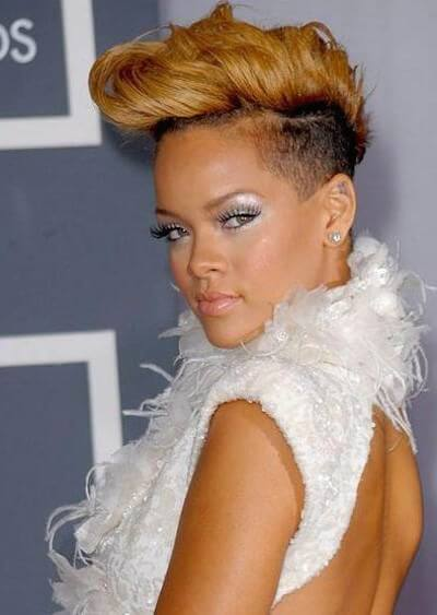 Rihanna Blong Pompadour Rock Hairstyle