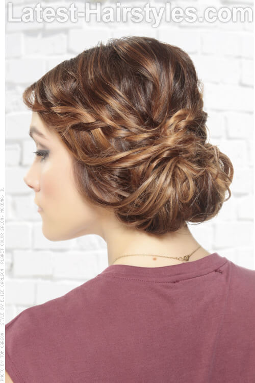 Simple Updo with Braids and Twists Back