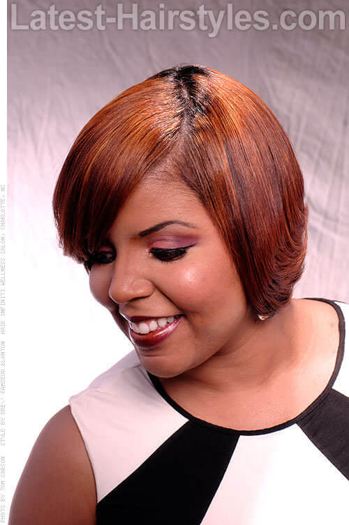 Bob Hairstyle with Wide Side-Swept Fringe 2
