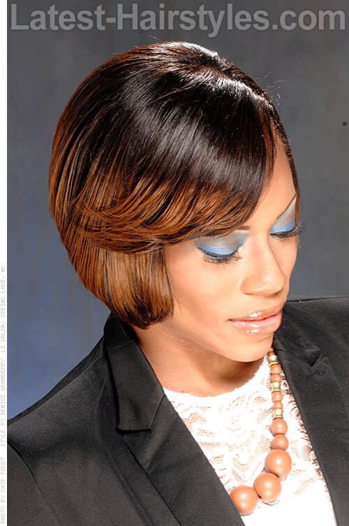 Cheek-Length Bob with Sweeping Fringe