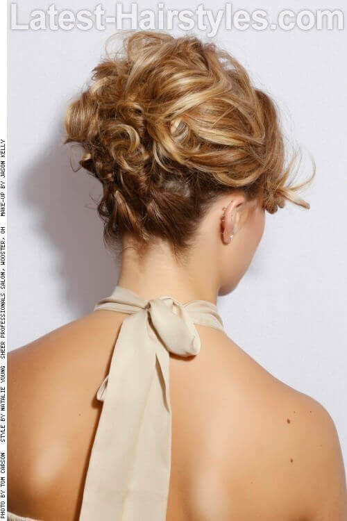 Formal Updo with Twists and Curls Back