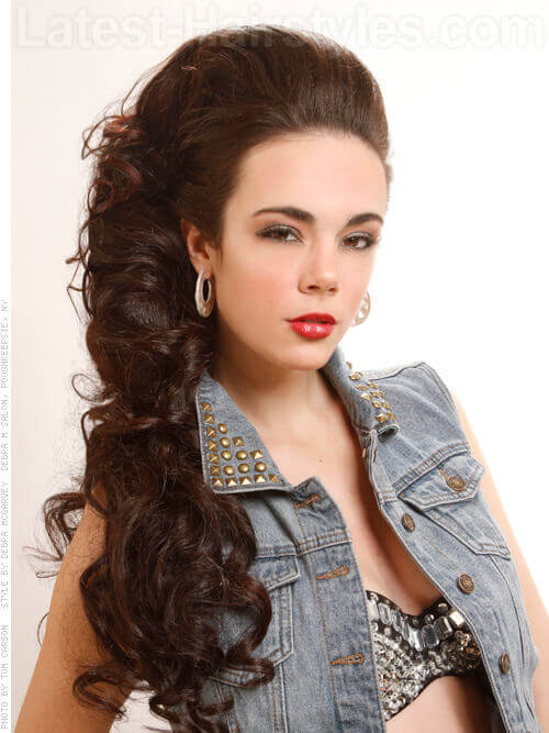 Long Side Swept Hairstyle with Curls