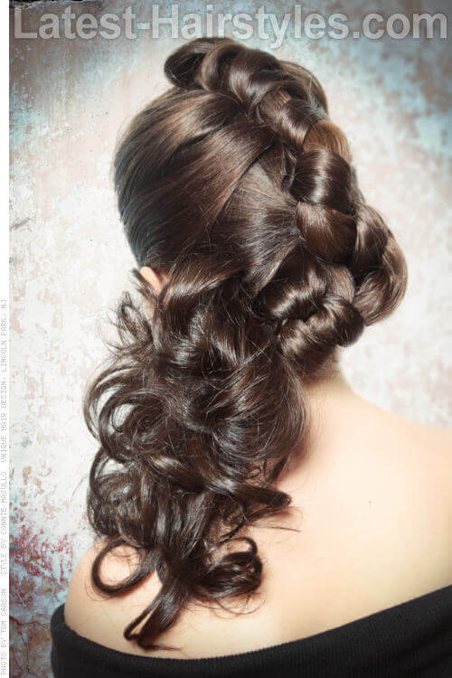Modern Braided Updo for Long Hair Back
