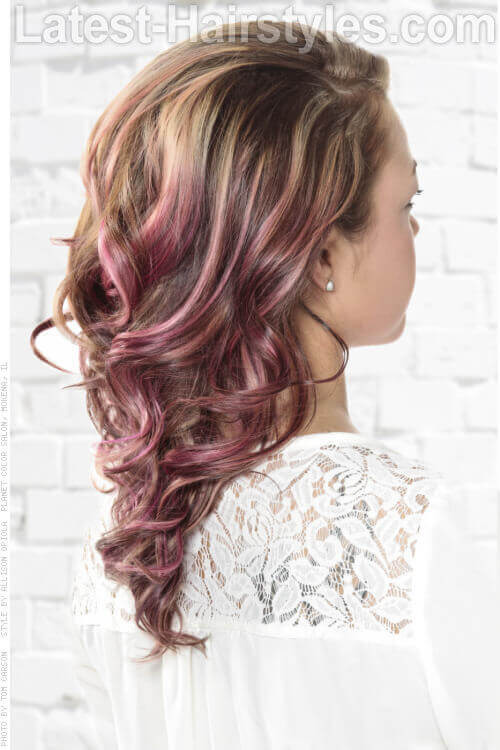 Side Swept Hairstyle with Curls and Orchid Hued Dip Dye Back