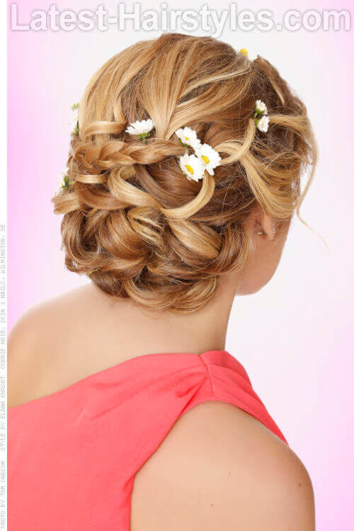 Simple Braided Updo with Daisy Accents Back