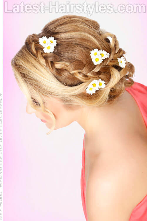 Simple Braided Updo with Daisy Accents