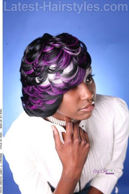 Bob Hairstyle with Purple and White Clip In Extensions