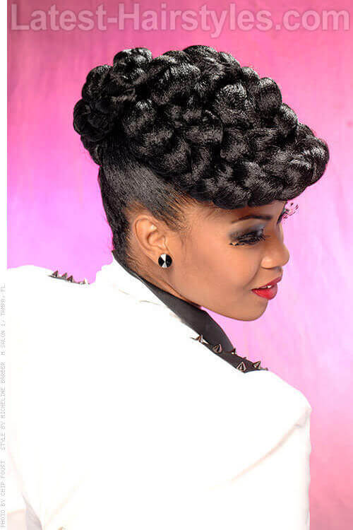 Chapeau Braids Updo for Thick Hair Side