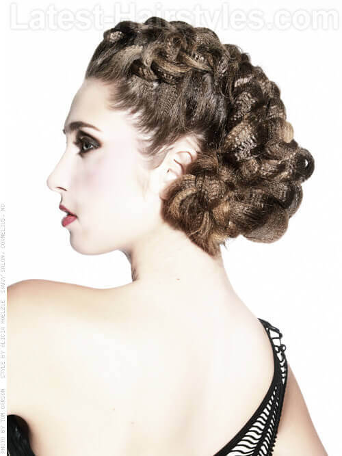 Crimped French Braid Updo Side