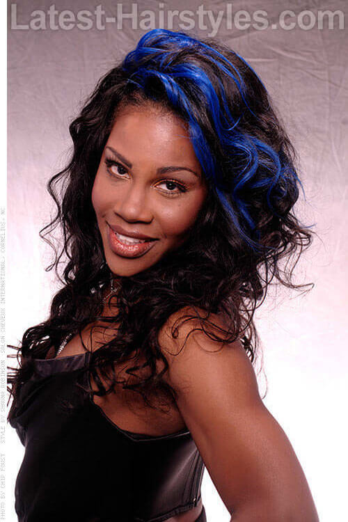 Gorgeous Beachy Waves with Royal Blue Color Front