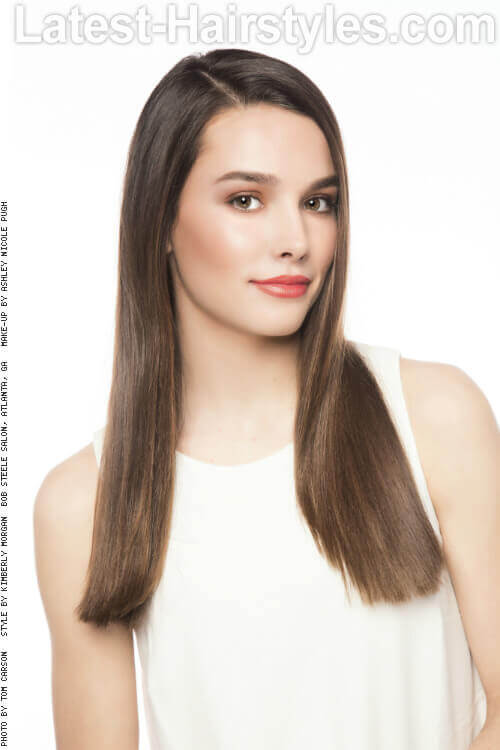 Long Straight Hairstyle with Side Part