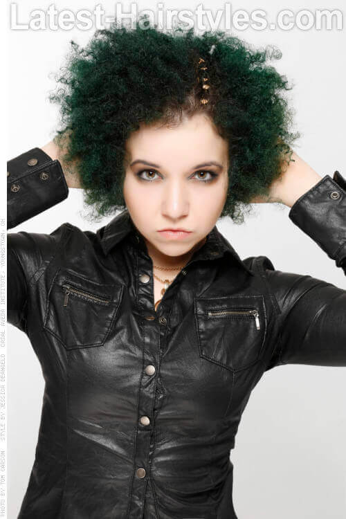 Naturally Textured Deep Forest Green Edgy Hairstyle