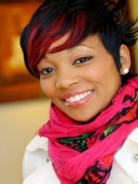 Monica Red Highlights Hair Idea