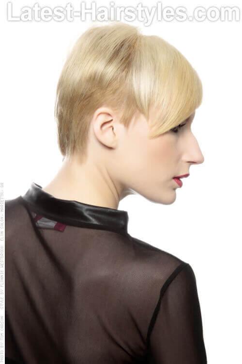 Sharp Short Soft Blonde Haircut Side