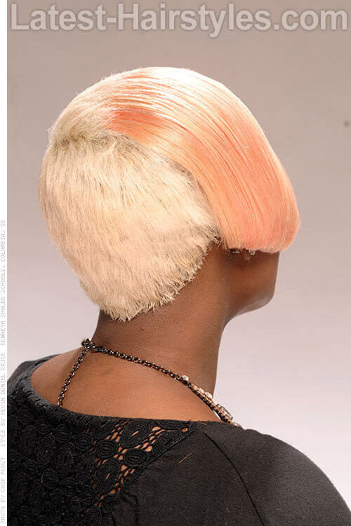 Short Blonde Hairstyle with Soft Pastel Color Back