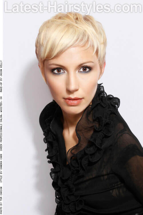 Short Edgy Haircut with Platinum Color