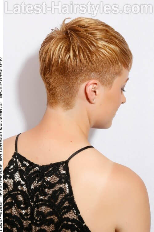 Short Pixie with Warm Blonde Tones Back