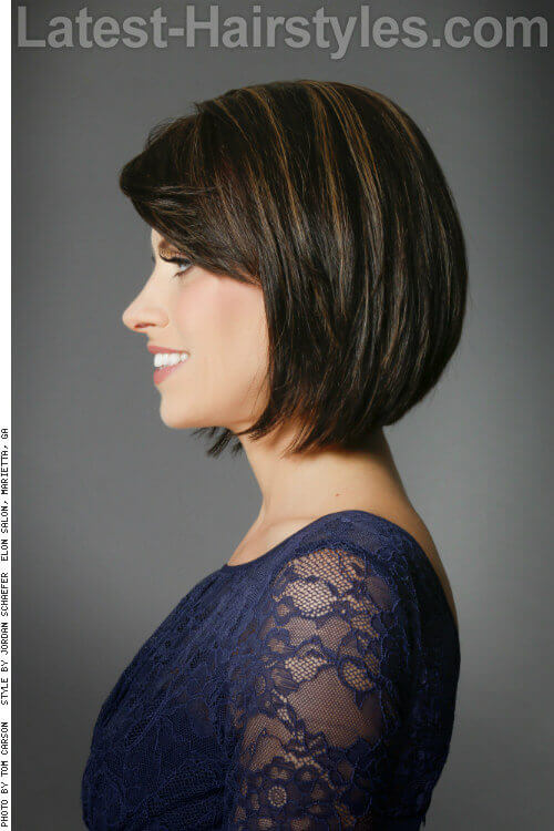 Straight Graduated Bob Hairstyle Side