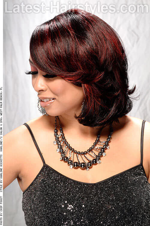 The Red & Black Easy Side-swept Bob 2