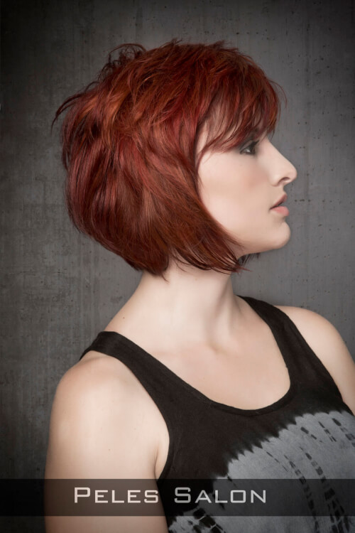 Dramatic Red Haircolor on Edgy Cut Side