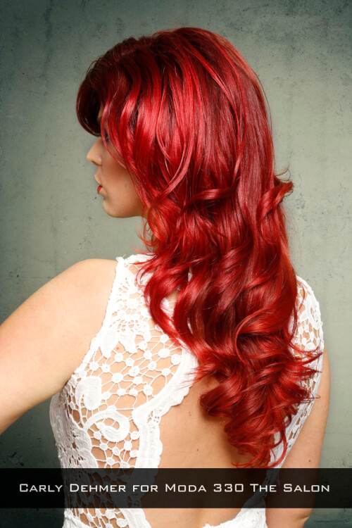 Edgy Red Haircolor on Big Sexy Hair Back