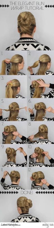 The Elegant Bun Wrap Tutorialk