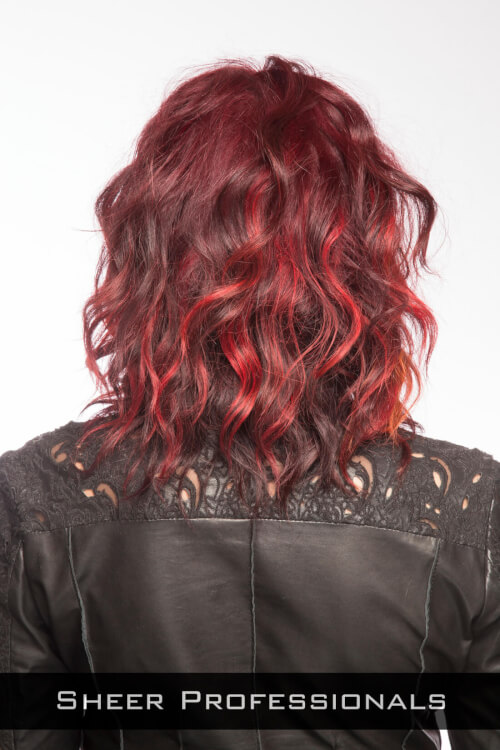 Wavy Hairstyle with Multi Dimensional Red Color Back