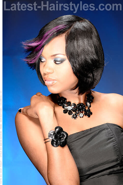 Flared Bob Haircut with Orchid Streaks