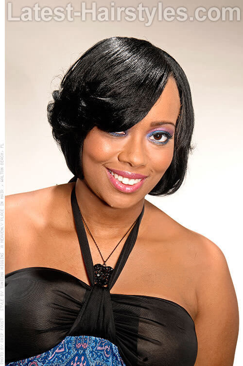 Lightly Angled Side Swept Fringe with Bump Ends Angled Bob Hair Cuts 1