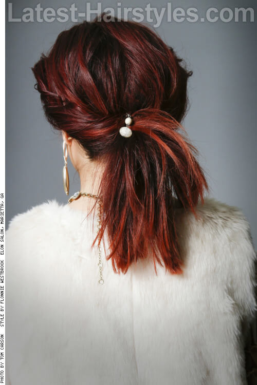 Medium Length Updo with Twist Back