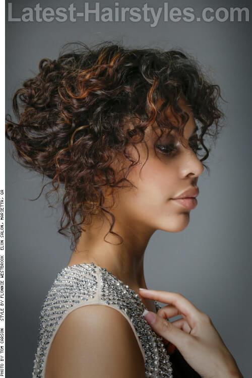 Medium Updo with Soft Curls Side
