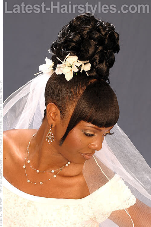 Ponytail Updo with Bangs-Hairstyles for Brides 2