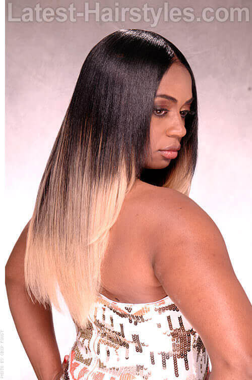 Dramatic Contrasting Blonde Ombre Haircolor Back